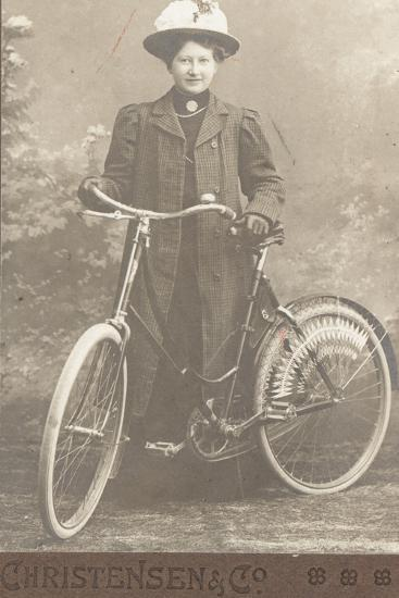Woman with a Bicycle--Photographic Print