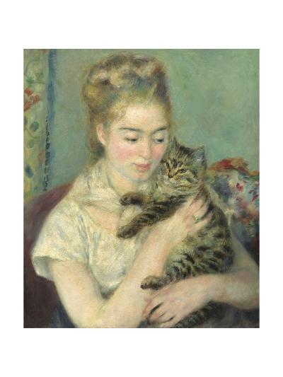 Woman with a Cat, 1875-Pierre-Auguste Renoir-Giclee Print