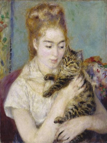 Woman with a Cat, C.1875-Pierre-Auguste Renoir-Giclee Print