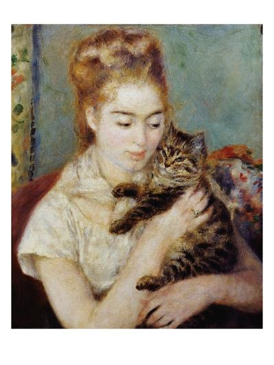 Woman with a Cat-Pierre-Auguste Renoir-Giclee Print