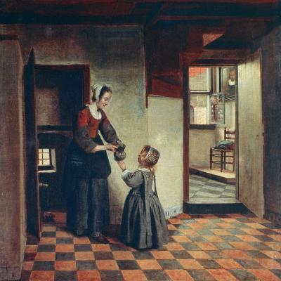 Woman with a Child in a Pantry, C1660-Pieter de Hooch-Giclee Print