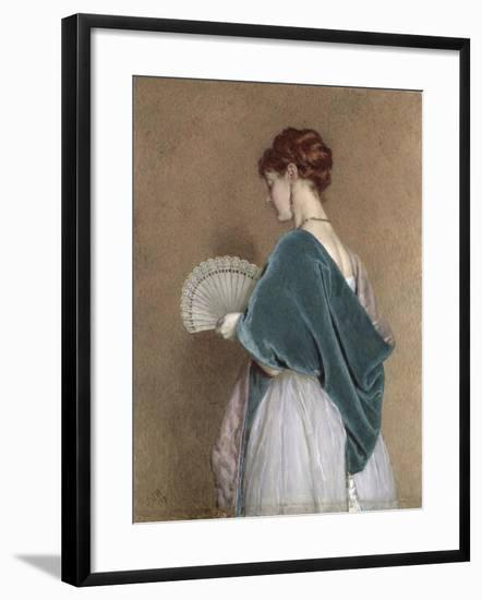 Woman with a Fan, 1871 (Pencil and W/C on Paper)-John Dawson Watson-Framed Giclee Print