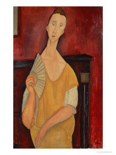 Woman with a Fan (Lunia Czechowska) 1919-Amedeo Modigliani-Giclee Print