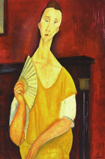 Woman with a Fan-Amedeo Modigliani-Art Print