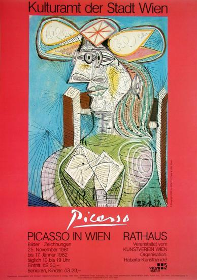 Woman with a Hat on Blue-Pablo Picasso-Art Print