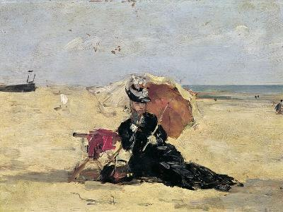 Woman with a Parasol on the Beach, 1880-Eug?ne Boudin-Giclee Print