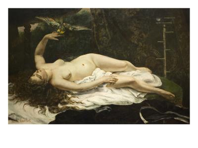 Woman with a Parrot-Gustave Courbet-Art Print