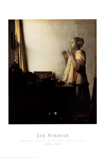 Woman with a Pearl Necklace-Johannes Vermeer-Art Print
