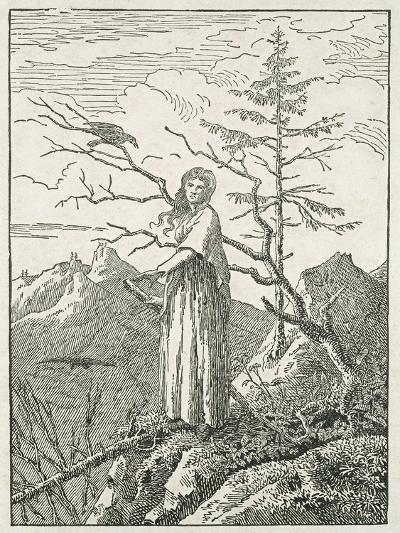 Woman with a Raven, on the Edge of a Precipice-Caspar David Friedrich-Giclee Print