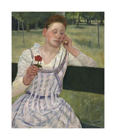 Woman with a Red Zinnia, 1891-Mary Stevenson Cassatt-Premium Giclee Print