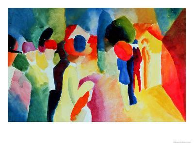Woman with a Yellow Jacket-Auguste Macke-Giclee Print