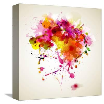 Woman with Abstract HairDesign--Stretched Canvas Print
