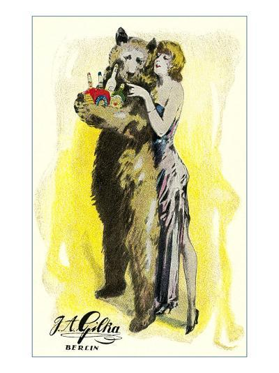 Woman with Bear Carrying Liquor Bottles, Germany--Art Print