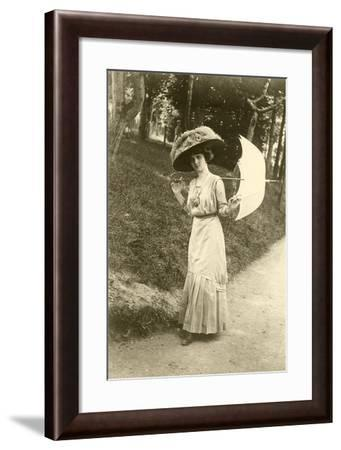 Woman with Big Hat, Parasol--Framed Art Print