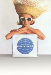 Woman with Big Sunglasses, Straw Hat and Pan Am Bag