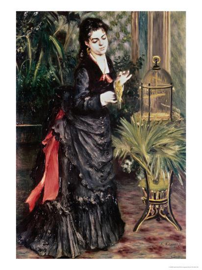 Woman with Bird-Pierre-Auguste Renoir-Giclee Print