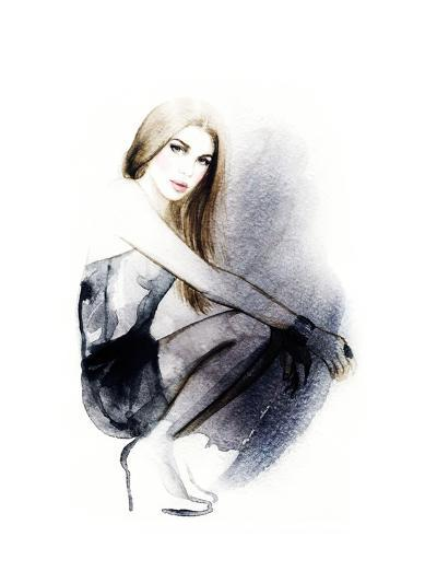 Woman with Black Dress .Abstract Watercolor .Fashion Background-Anna Ismagilova-Art Print
