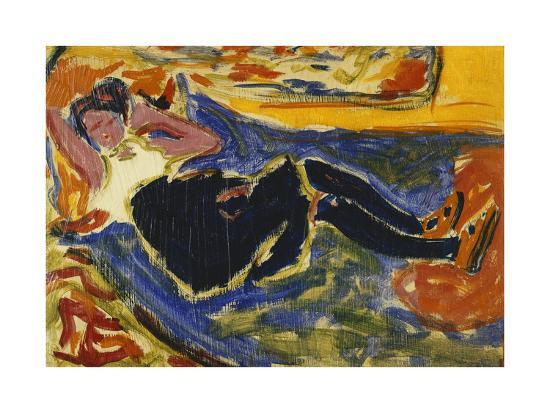 Woman with Black Stockings-Ernst Ludwig Kirchner-Giclee Print