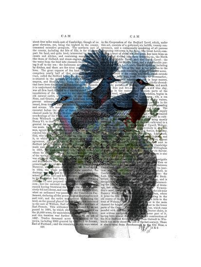 Woman with Blue Birds On Head-Fab Funky-Art Print
