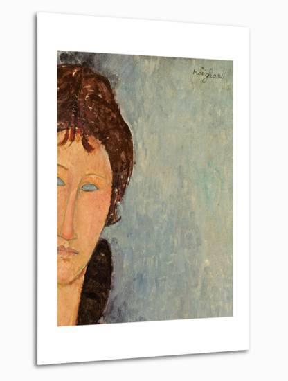 Woman with Blue Eyes, C.1918-Amedeo Modigliani-Metal Print