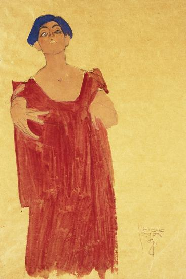Woman with Blue Hair; Frau Mit Blauem Haar, 1918-Egon Schiele-Giclee Print