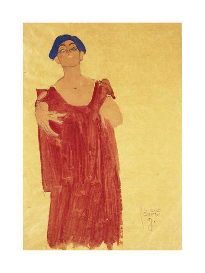 Woman with Blue Hair-Egon Schiele-Giclee Print