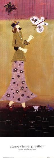 Woman With Butterflies II-Genevieve Pfeiffer-Art Print