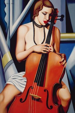 Woman with Cello-Catherine Abel-Giclee Print