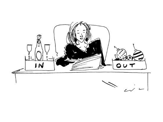 Woman with champagne in her 'in' box, and christmas ornaments in her 'out'? - New Yorker Cartoon-Richard Cline-Premium Giclee Print