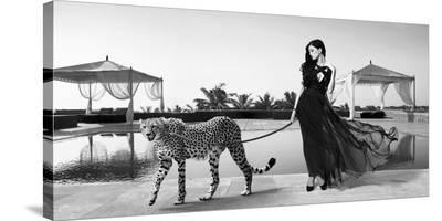 Woman with Cheetah-Julian Lauren-Stretched Canvas Print