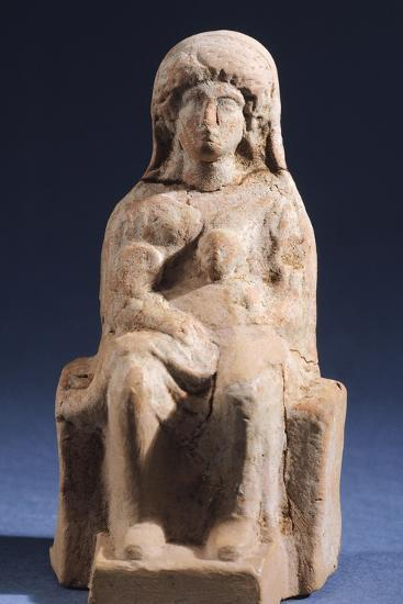 Woman with Child, Terracotta Statue Unearthed in Votive Deposit in Gela, Sicily, Italy--Giclee Print