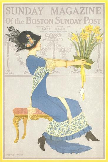 Woman with Daffodils--Art Print