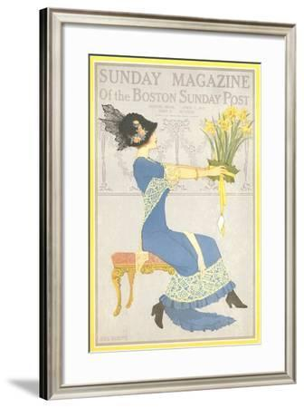 Woman with Daffodils--Framed Art Print