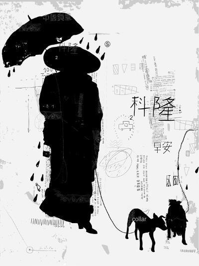 Woman with dog-Dmitriip-Art Print