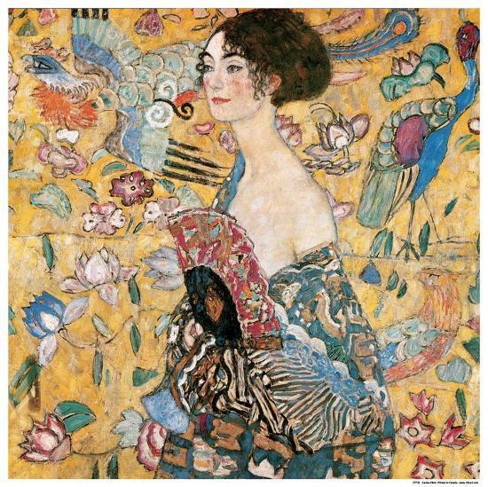 Woman with fan-Gustav Klimt-Art Print