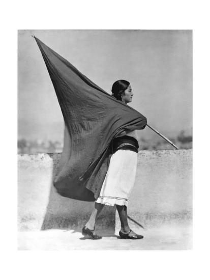 Woman with Flag, Mexico City, 1928-Tina Modotti-Photographic Print