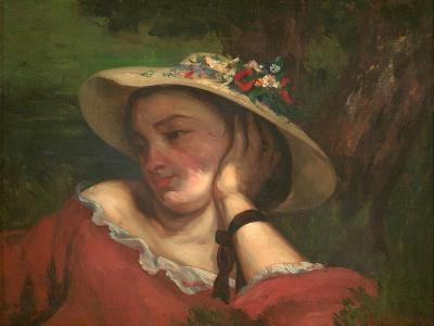 Woman with Flowers on Her Hat-Gustave Courbet-Giclee Print