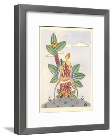 Woman with Gazelle and Surrealistic Plant