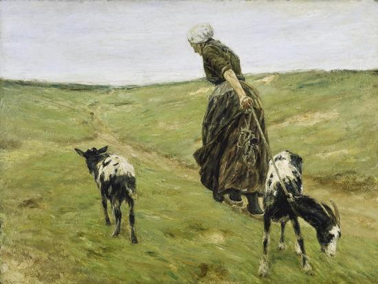 Woman with goats on the dunes. 1890-Max Liebermann-Giclee Print