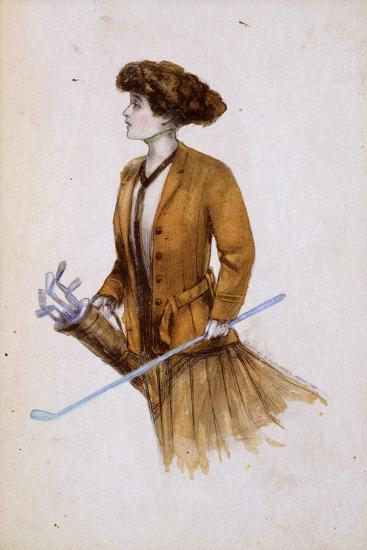 Woman with golf clubs, illustration, c1900-Unknown-Giclee Print