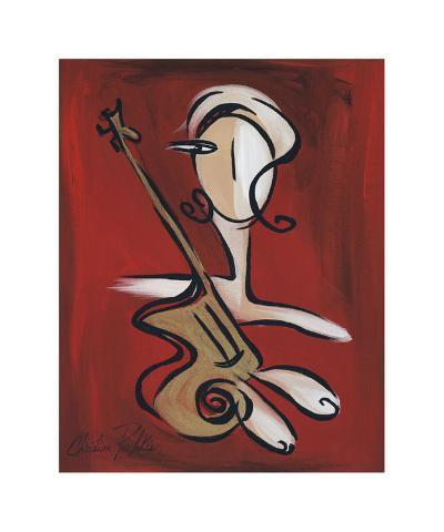 Woman with Guitar-Christian Pavlakis-Giclee Print
