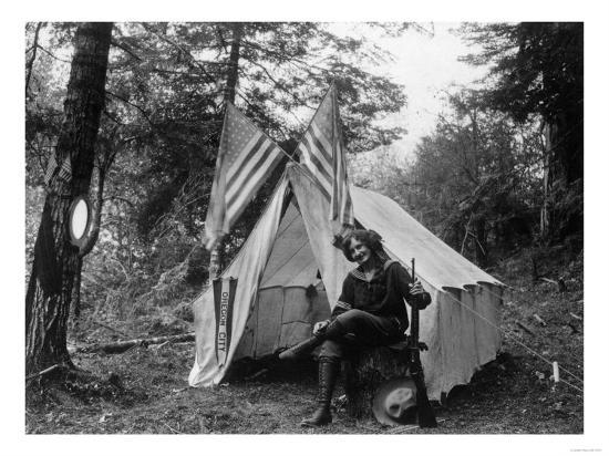 Woman with Gun Sitting Outside Her Tent Fourth of July - Thompson Creek, OR-Lantern Press-Art Print