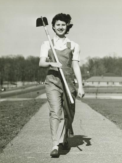 Woman With Hoe Walking on Path, Portrait-George Marks-Photographic Print