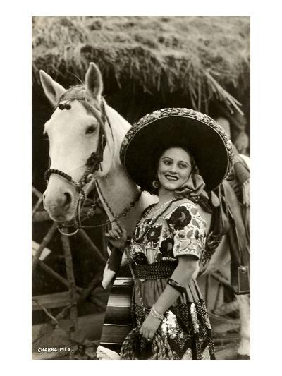 Woman with Horse, Mexican Charra--Art Print