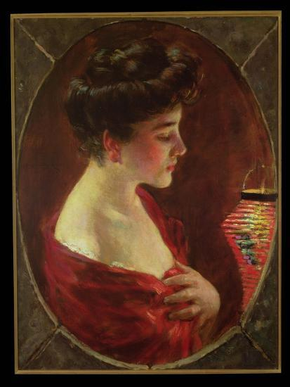 Woman with Japanese Lantern-James Carroll Beckwith-Giclee Print