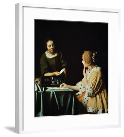 Woman with Maid and Letter-Johannes Vermeer-Framed Giclee Print