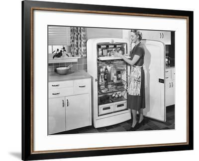 Woman with Open Refrigerator--Framed Photo