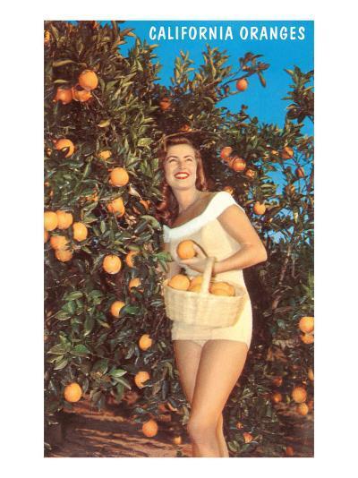 Woman with Oranges in Basket, California--Art Print