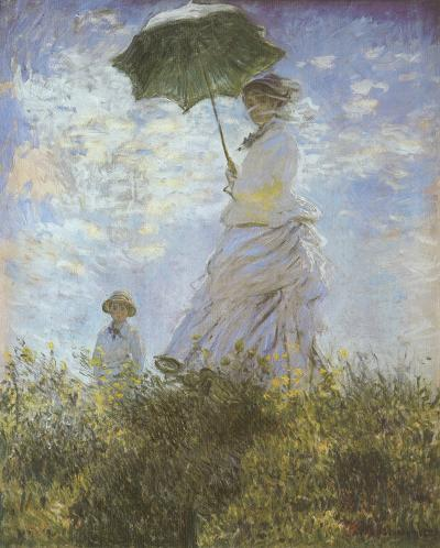Woman with Parasol and Child-Claude Monet-Framed Textured Art