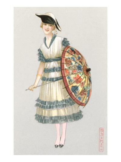 Woman with Parasol, Fashion Illustration--Art Print